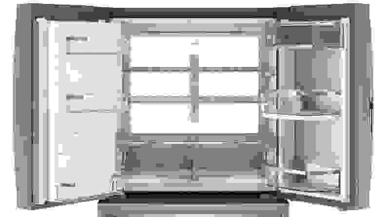 The GE Profile PVD28BYNFS four door French door refrigerator's backlit interior.
