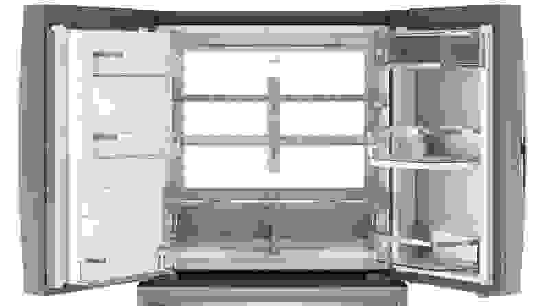 GE Profile PVD28BYNFS four door French door refrigerator—interior
