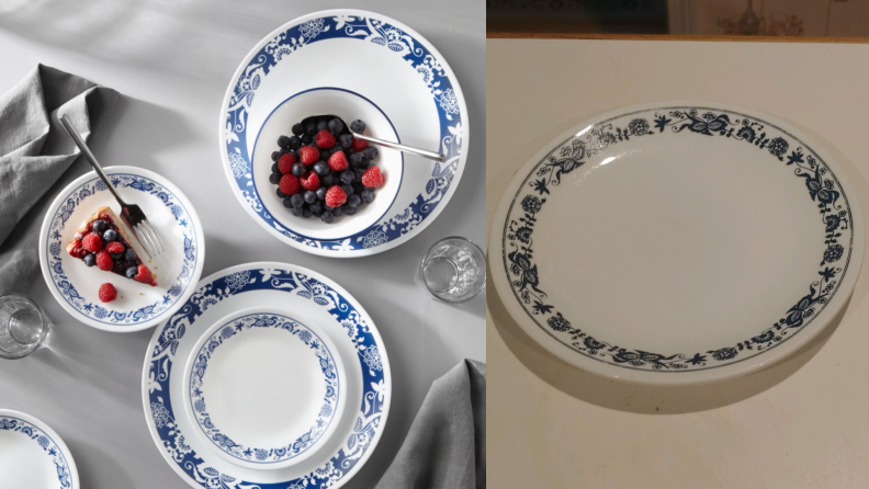 On left, blue and white True Blue white plate set with berries and pie on top. On right, single True Blue plate.