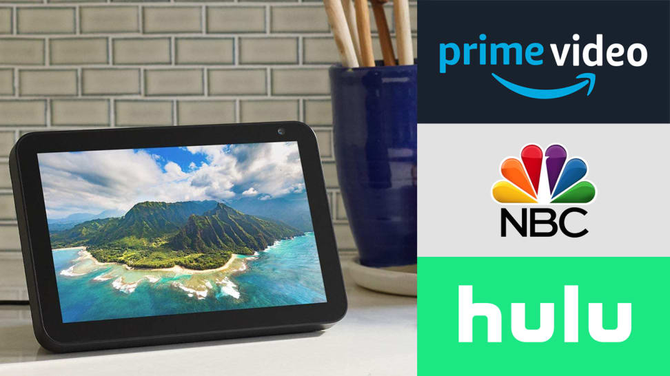 Echo Show with Prime Video, NBC, and Hulu logos