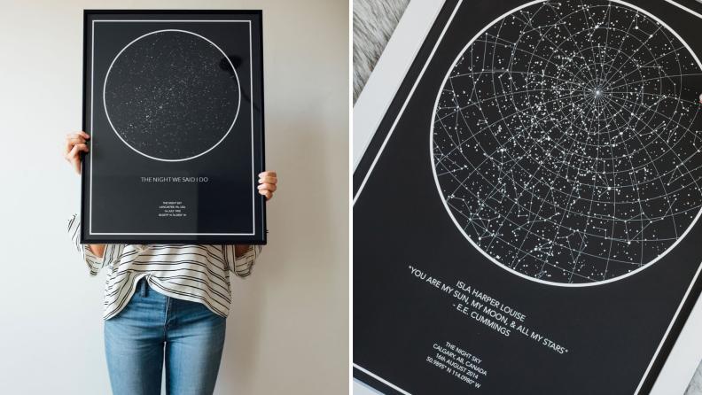 Customized star maps with celebratory dates.