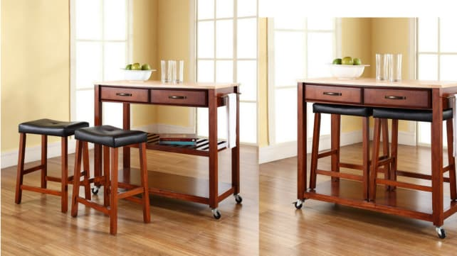 The Kitchen Cart With Matching Stools