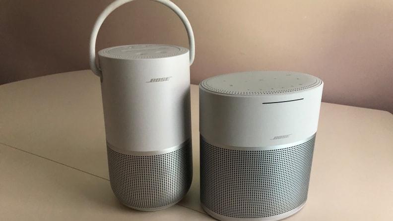 Bose Portable Smart Speaker next to the Bose Home Speaker 300