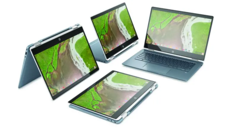 An image of several Chromebook laptops in various states of openness, one on its side, one open normally, and the others open to display the tablet capabilities.
