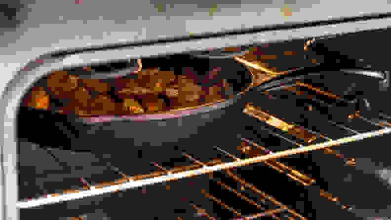 Cast iron pan inside an oven