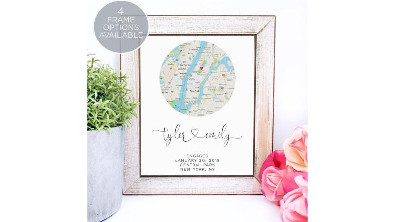 Best engagement gifts: Custom map art