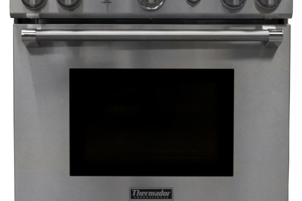 The Thermador PRD304GHU dual-fuel range straight-on