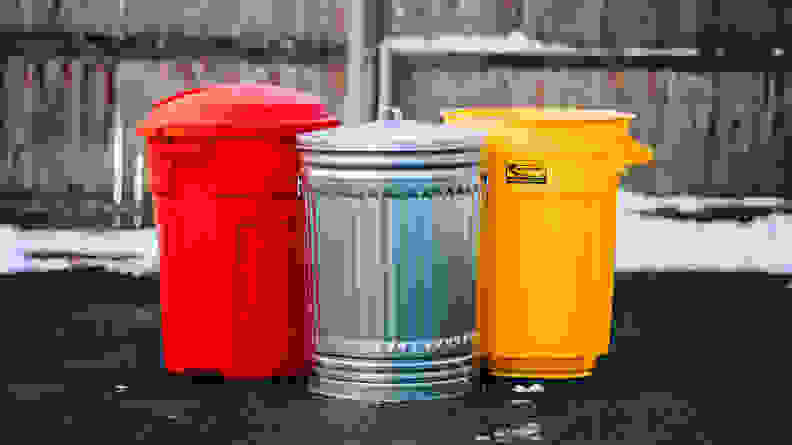 The trash cans