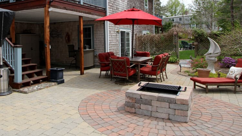 Stonewood Product's Cape Cod Fire Pit is modular and square, and it comes in three colors with an optional cooking grate.