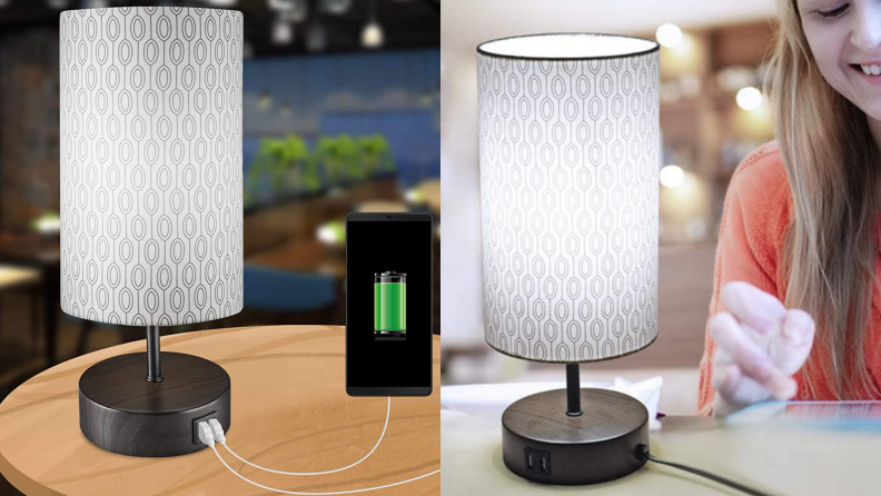A dimmable table lamp charges a phone.