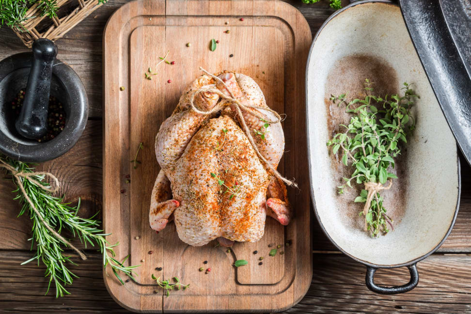 A spiced turkey ready for the oven