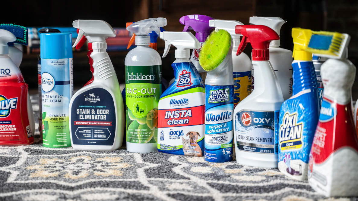 More than a dozen carpet stain cleaners displayed on a carpet.