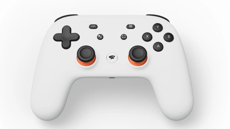A white Google Stadia controller against a white background.