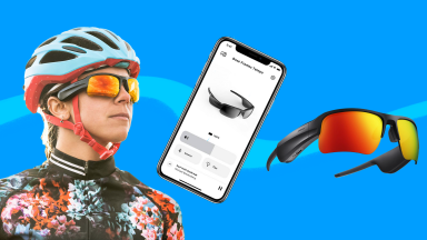 On left, person wearing Bose Frames with bike helmet on. In middle, smartphone with Bose app open. On right, Bose Frames.