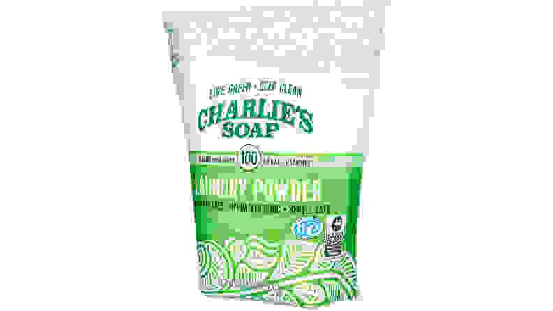 A package of Charlie's Soap powder detergent shown on a white background.