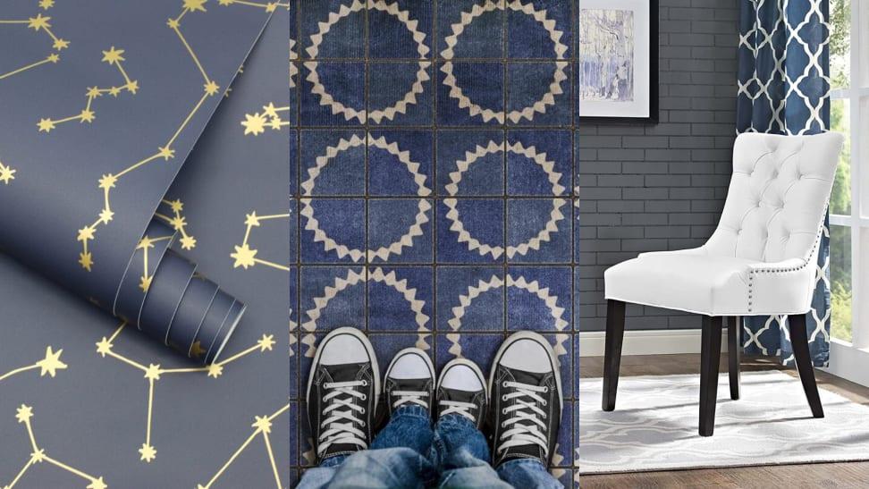 1) Blue constellation vinyl wallpaper. 2) blue and white vinyl flooring 3) a white vinyl chair.