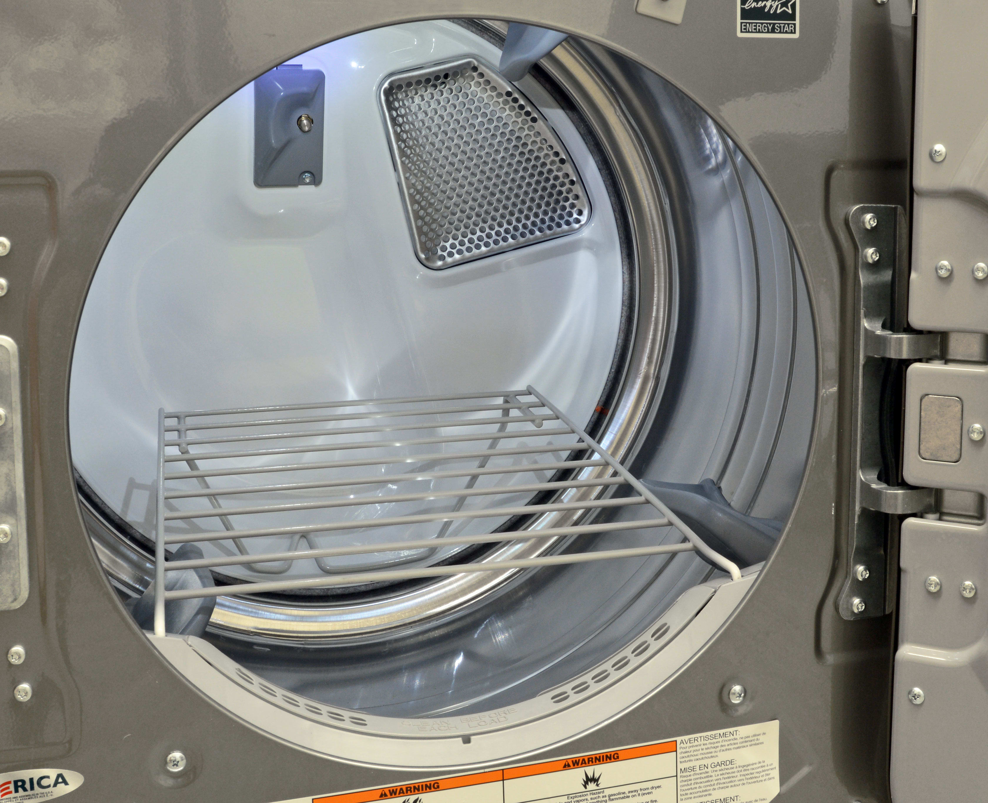 The Maytag 8200 dryers feature a stainless interior drum—always a nice touch—as well as a removable drying rack.