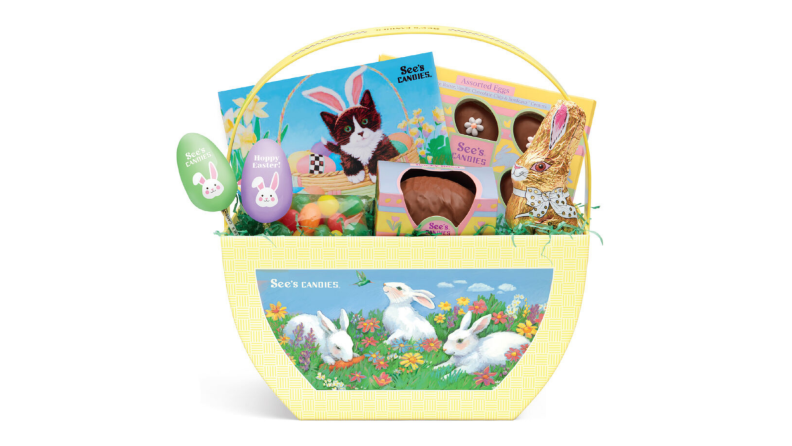 A yellow Easter basket full of See's candy chocolate treats.