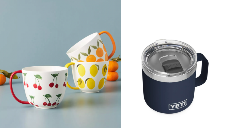 On the left, a view of several fruit-printed mugs. On the right, a YETI thermal mug in navy.