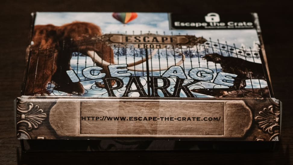 An Escape The Crate game package with an Ice Age Park theme.
