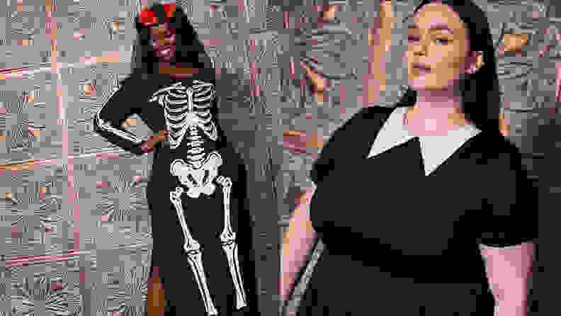 A woman wearing a skeleton costume next to a woman wearing a wednesday adams dress