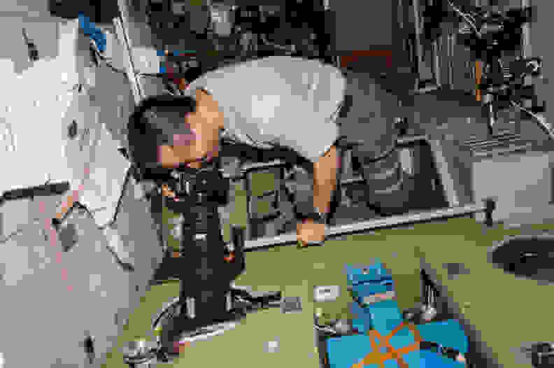 Astronaut Koichi Wakata Takes Photo Onboard ISS