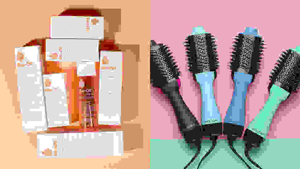 A photo of the Bio-Oil and the Revlon One-Step Hair Dryer & Volumizer Hot Air Brush.