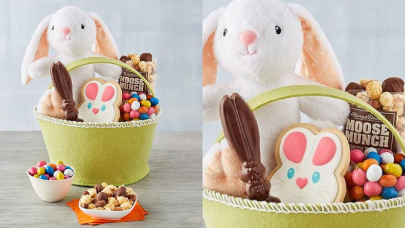 A small felt Easter basket with a rabbit cookie and snacks.