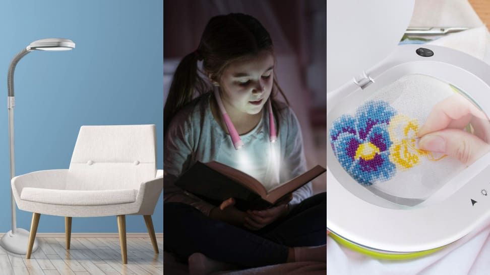 (1) A white arm chair sits in a living room next to a floor lamp. (2) A child reads in the dark with an adjustable reading lamp around their neck. (3) A person Zooms on an embroidery pattern.