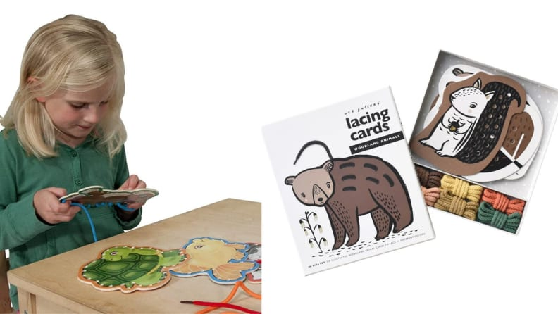 Child sitting down playing with wooden lace board. On right, multi-colored wooden lacing board in packaging.