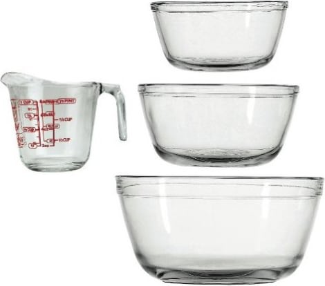 Product Image - Anchor Hocking 4-Piece Mixing Bowls and Measuring Cup Set