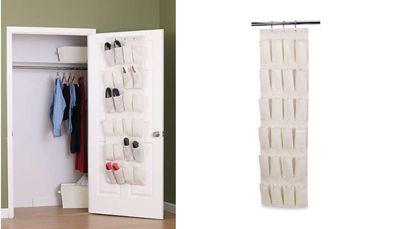 On the left, a shoe organizer hanging from a closet door. On the right, the same shoe organizer against a white background.