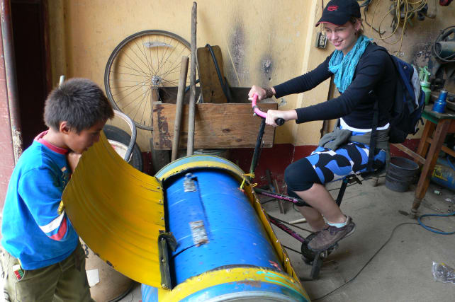 Bike powered washing machine