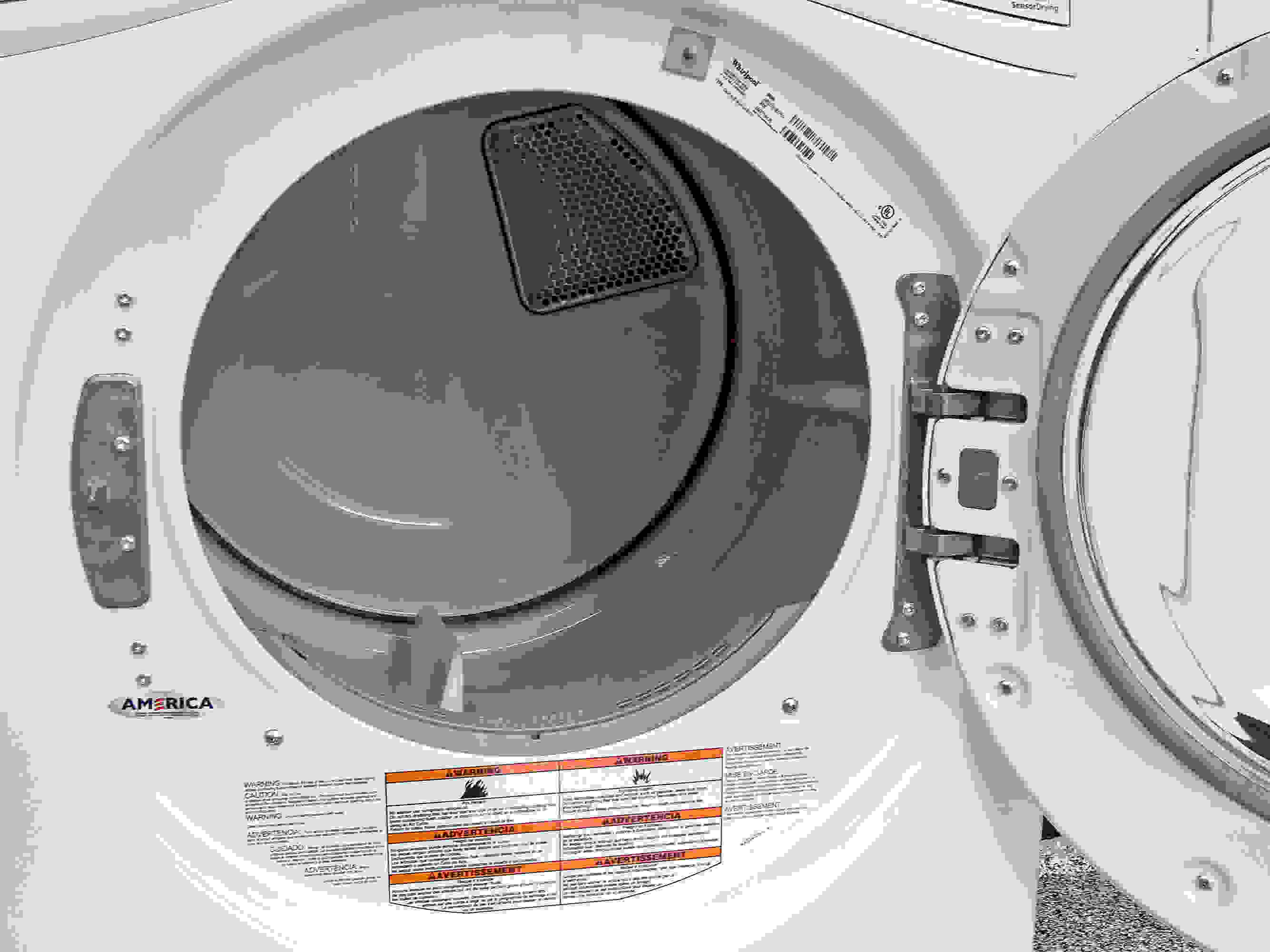 A white powder coated drum is pretty much guaranteed for dryers in the price range of the Whirlpool Duet WED72HEDW.