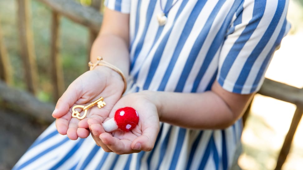 A pair of cupped hands holding a small felt mushroom and a small gold key