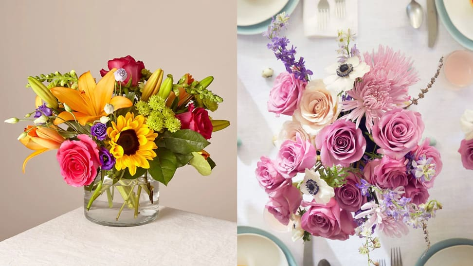 Two gorgeous flower bouquets featuring sunflowers, roses, and daisies.