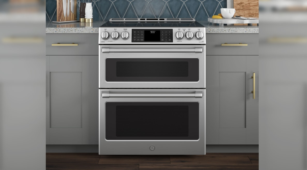 A double oven range in a modern kitchen.