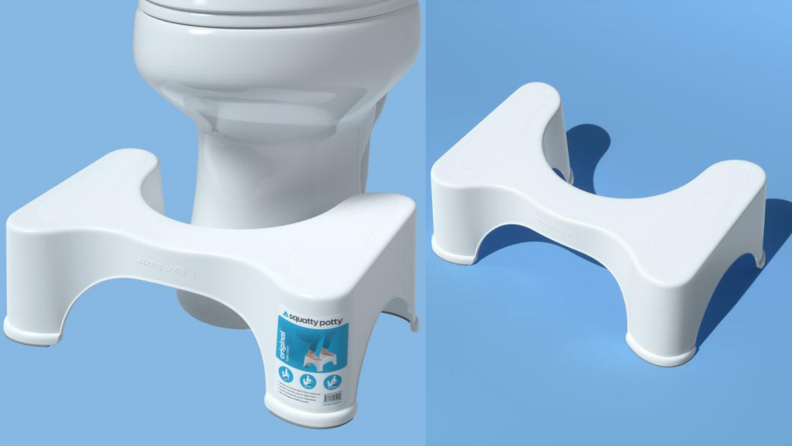 On left, white plastic Squatty Potty sitting in front of toilet in front of blue background. On right, white plastic squatty potty in front of blue background.