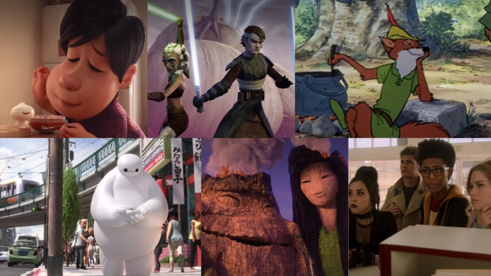 Six images from Disney+ movies and series including Bao, Star Wars: The Clone Wars, Robin Hood, Big Hero 6, Lava, and Runaways
