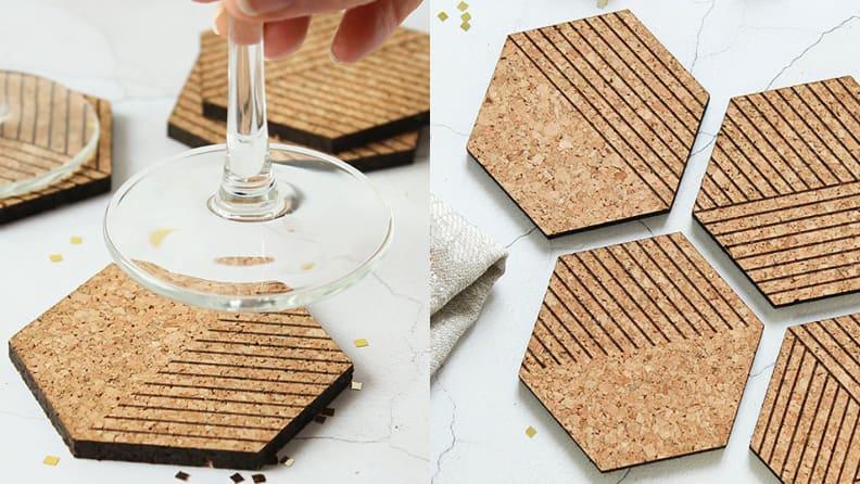 Hexagon Cork Coasters