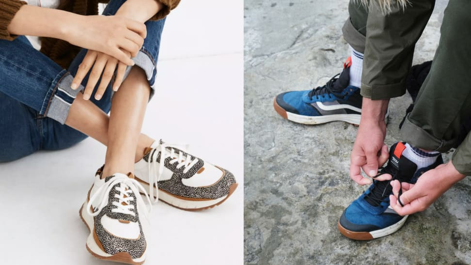 Side by side of colorful sneakers.