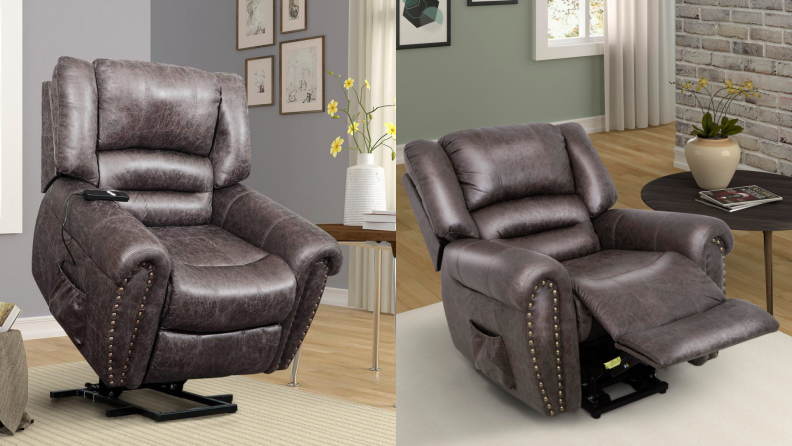 On left, brown leather chair extended into upright position. On right, brown leather chair extended outward into horizontal position.