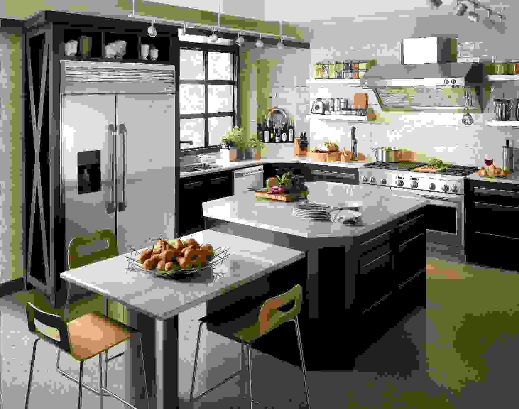 A condo kitchen concept with sleek Monogram appliances.