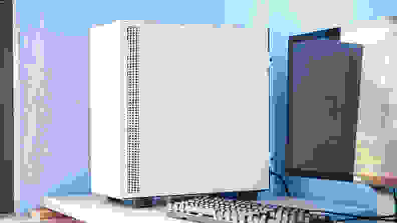 The PC sits on the left side of a desk