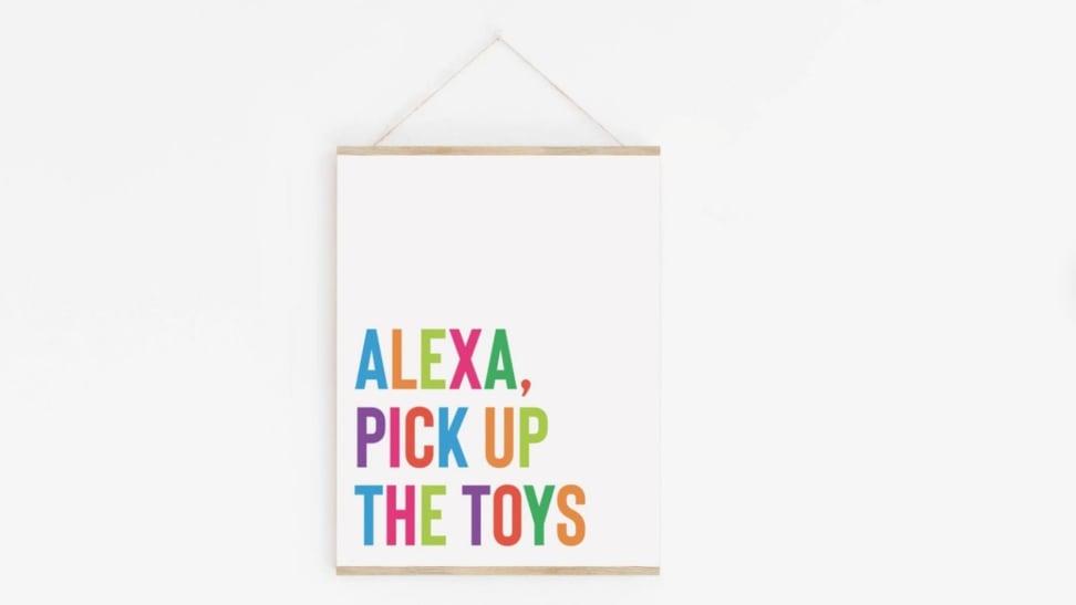 """Alexa pick up the toys"" rainbow-colored kids playroom wall decor print"