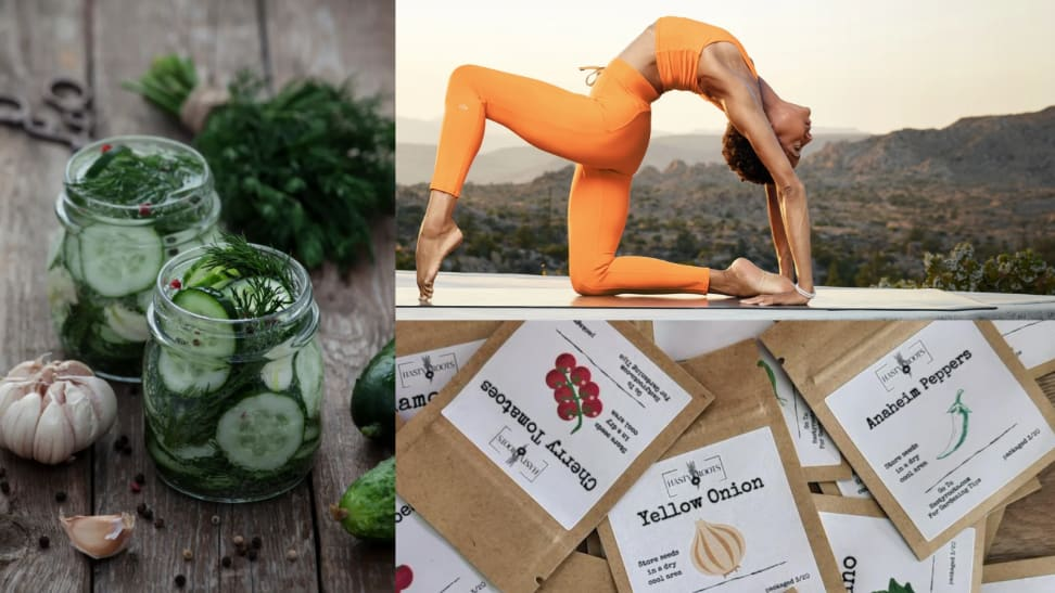 An image of picked herbs and vegetables alongside an image of a woman doing yoga (top) and an image of several packets of spring vegetable seeds (bottom).
