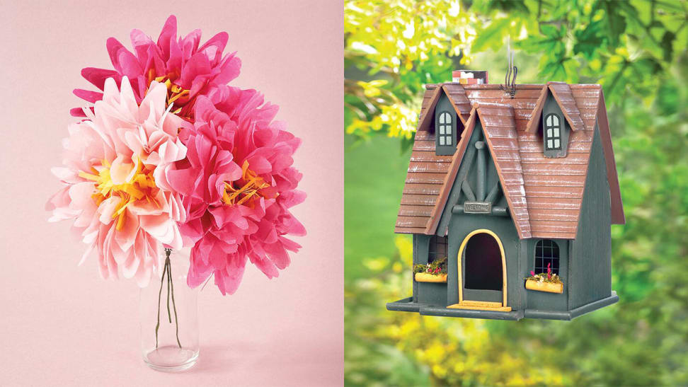 A photo of origami flowers next to a photo of a birdhouse.