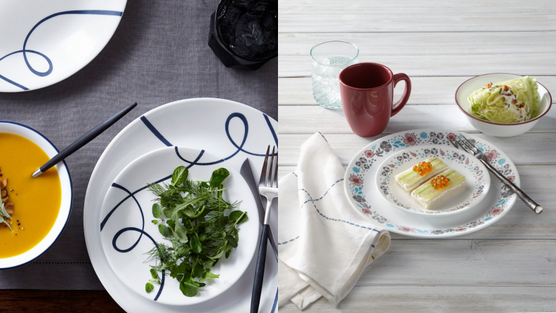 On left, navy and white plates and bowl with soup and salad. On right, white multi-colored plate set with food on top.