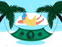 An illustration of a woman relaxing on a hammock strung between two palm trees