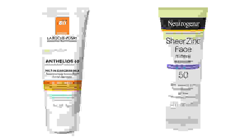 The La Roche Posay Anthelios Melt-In Sunscreen Milk and the Neutrogena Sheer Zinc Sunscreen Lotion SPF 50.